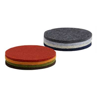 Round Neutral Felt Coasters 4 Pack