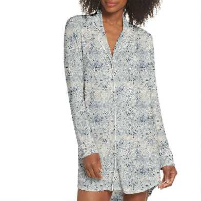 Ivory and Indigo Paisley Arabesque Nightshirt