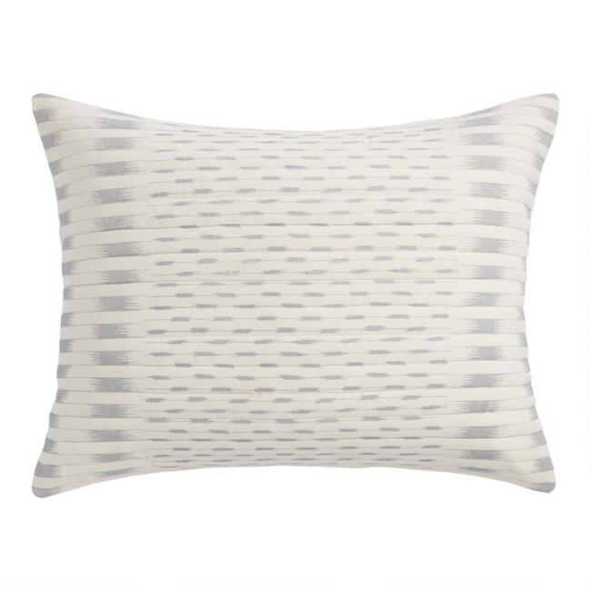 Ivory and Gray Geometric Stripe Leida Pillow Shams Set of 2