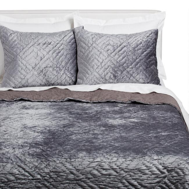 Dark Gray Velvet Luster Bedding Set