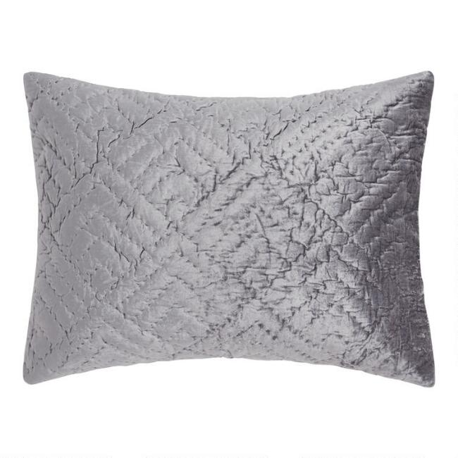 Dark Gray Velvet Luster Pillow Shams Set of 2
