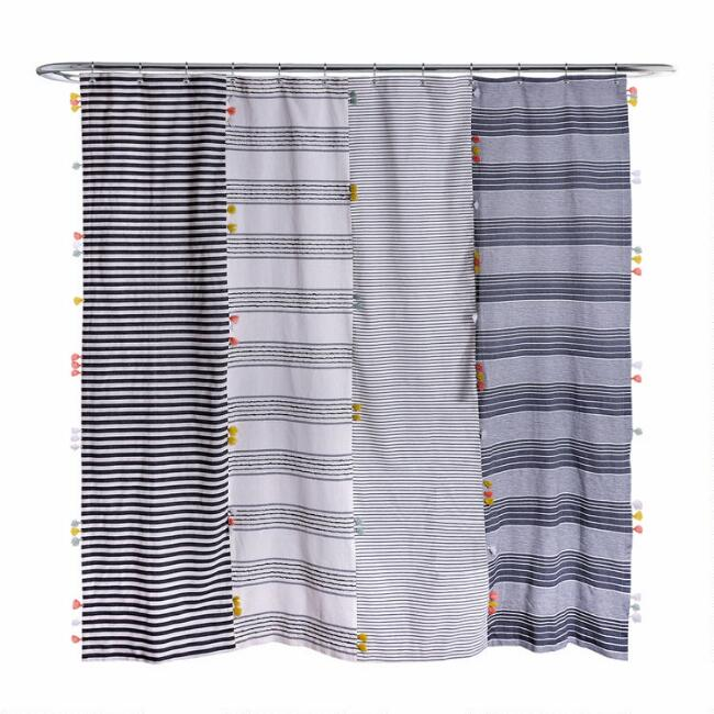 Ivory and Black Patchwork Stripe Harlan Shower Curtain