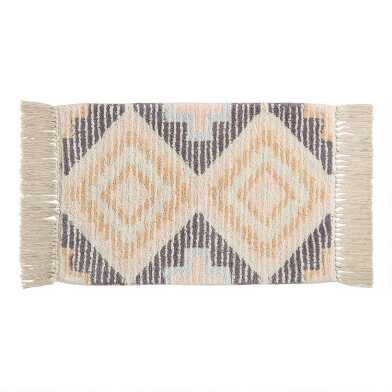 Blush and Gray Southwestern Diamond Tufted Bath Mat