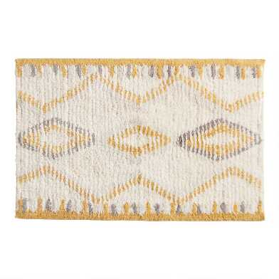 Ivory and Mustard Boho Shag Bath Mat