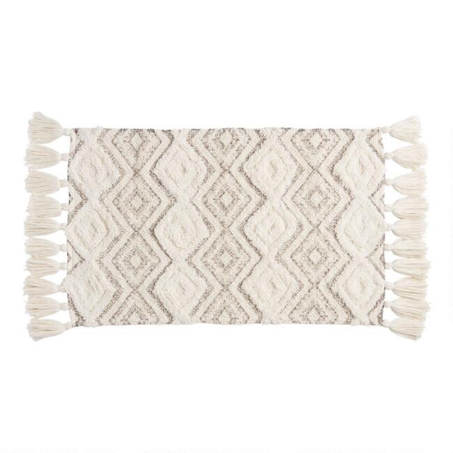 Ivory and Frost Gray Diamond Tassel Bath Mat