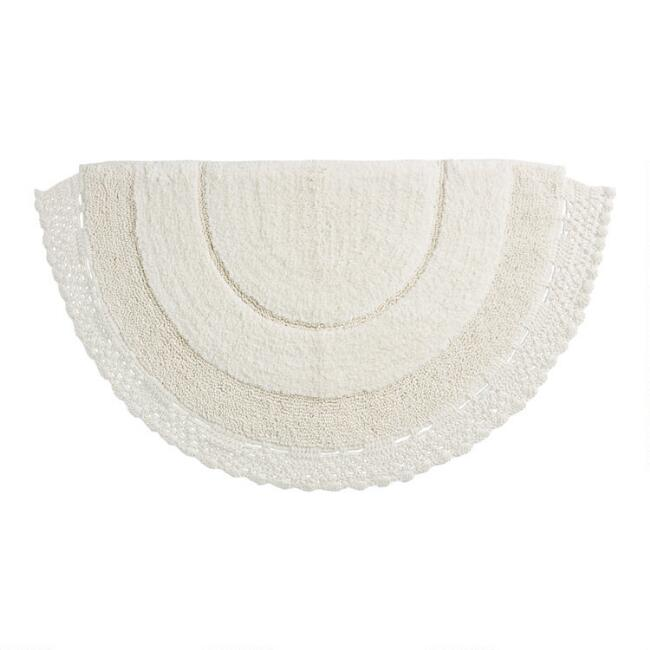 Ivory Crocheted Half Circle Bath Mat