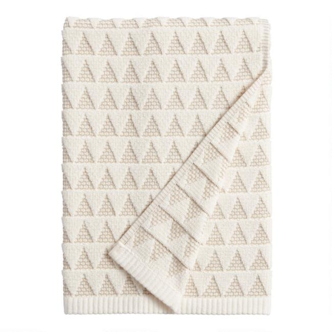 Ivory and Taupe Sculpted Triangle Laken Bath Towel