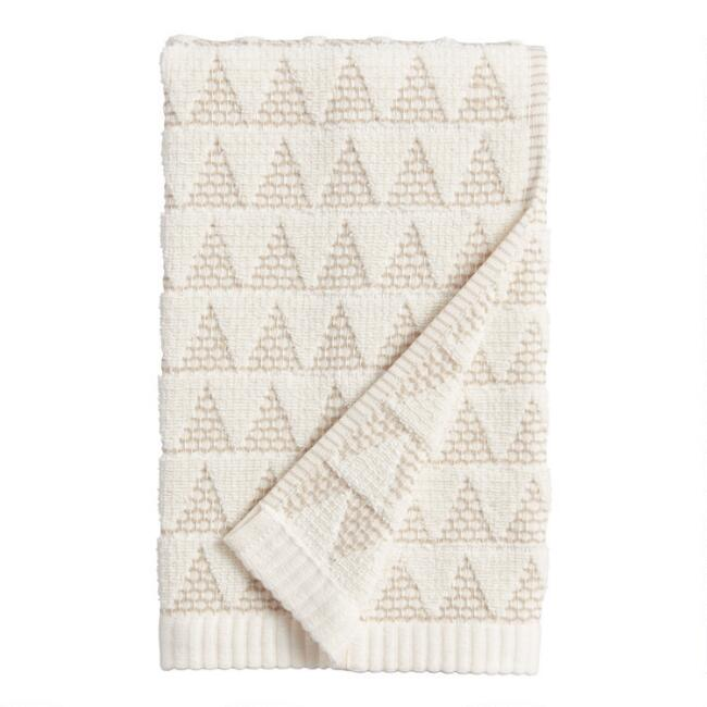 Ivory and Taupe Sculpted Triangle Laken Hand Towel