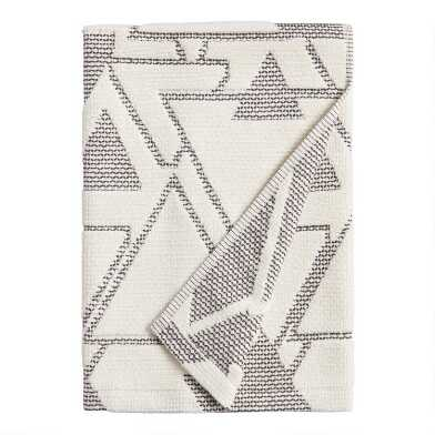 Ivory and Black Abstract Geo Blayne Bath Towel