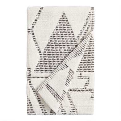 Ivory and Black Abstract Geo Blayne Hand Towel
