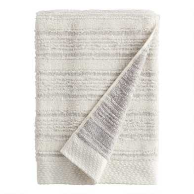 Pebble Gray Sculpted Stripe Tierny Bath Towel
