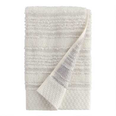 Pebble Gray Sculpted Stripe Tierny Hand Towel