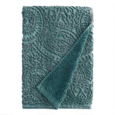 Balsam Green Sunfaded Sculpted Raquel Bath Towel