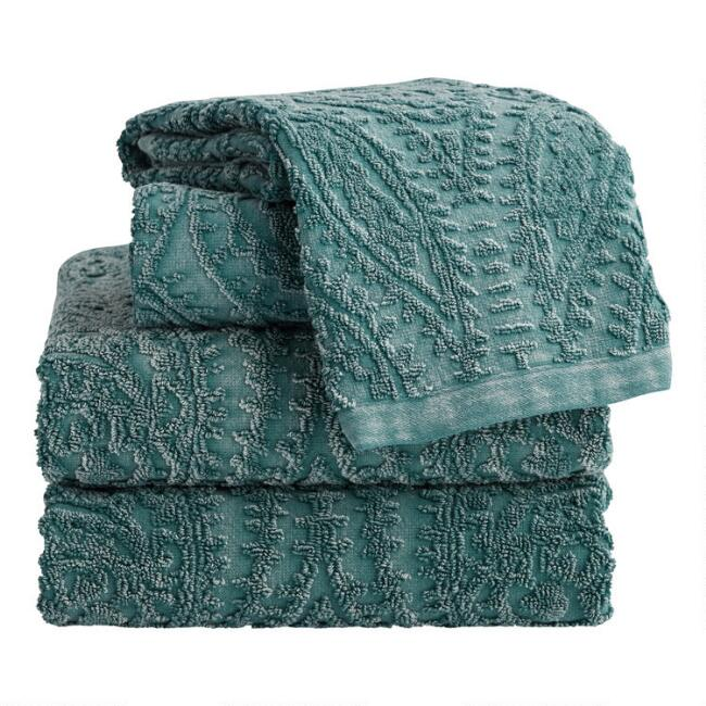Balsam Green Sunfaded Sculpted Raquel Towel Collection