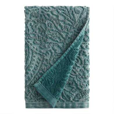 Balsam Green Sunfaded Sculpted Raquel Hand Towel