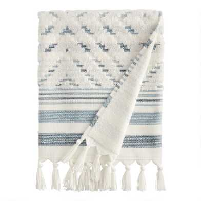 Ivory and Indigo Sculpted Diamond Marin Bath Towel