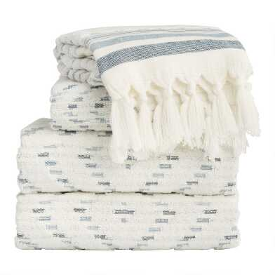 Ivory and Indigo Sculpted Diamond Marin Towel Collection