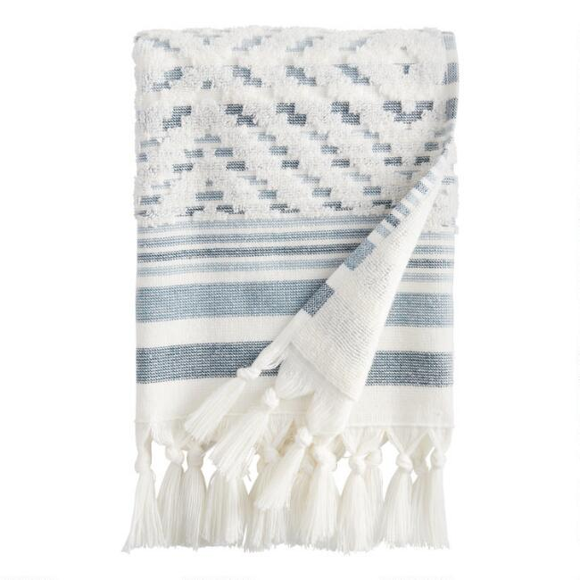Ivory and Indigo Sculpted Diamond Marin Hand Towel