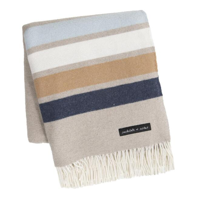 Sackcloth & Ashes Sand and Blue Striped Throw Blanket