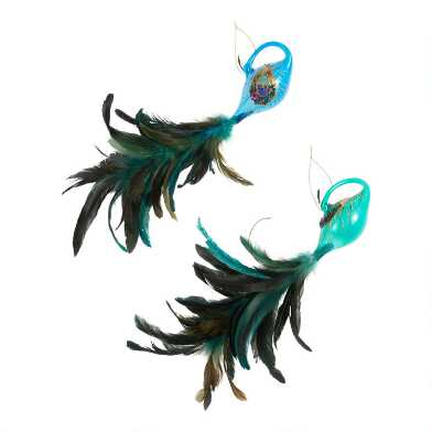 Glass and Feather Peacock Ornaments Set of 2