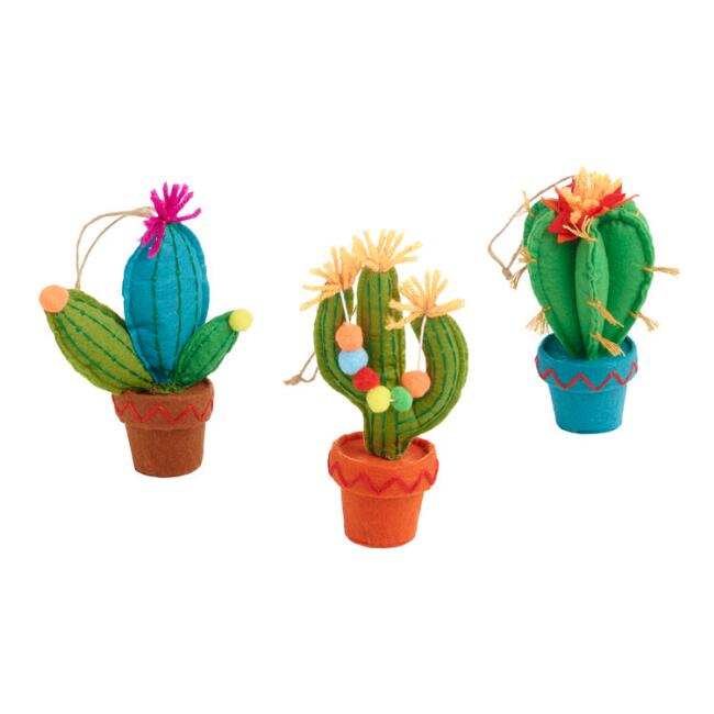 Felt Festive Cactus Ornaments Set of 3