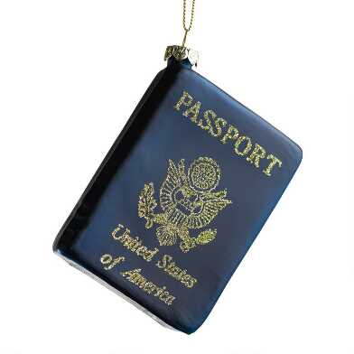Glittered Navy Blue Glass Passport Ornament