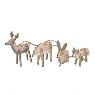 Wood Nordic Woodland Animal Ornaments Set of 4