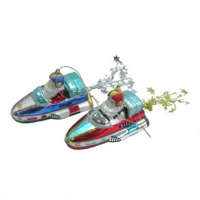 Glass Rocket Santa Ornaments Set of 2
