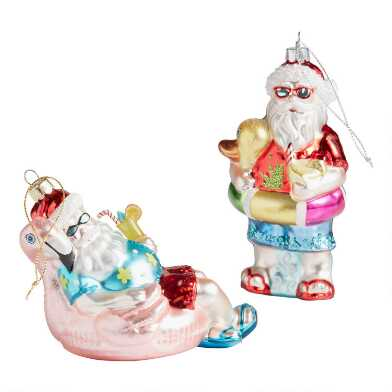 Glass Pool Float Santa Ornaments Set of 2