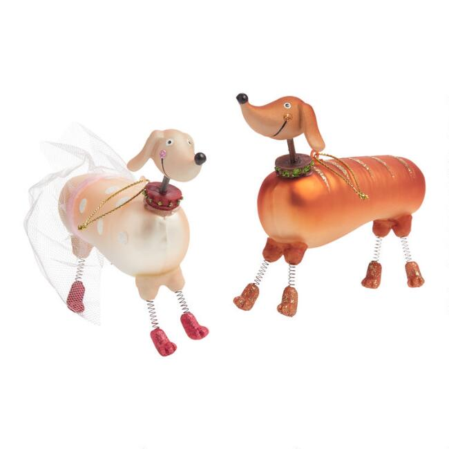 Pink and Brown Glass Dachshund Ornaments Set of 2