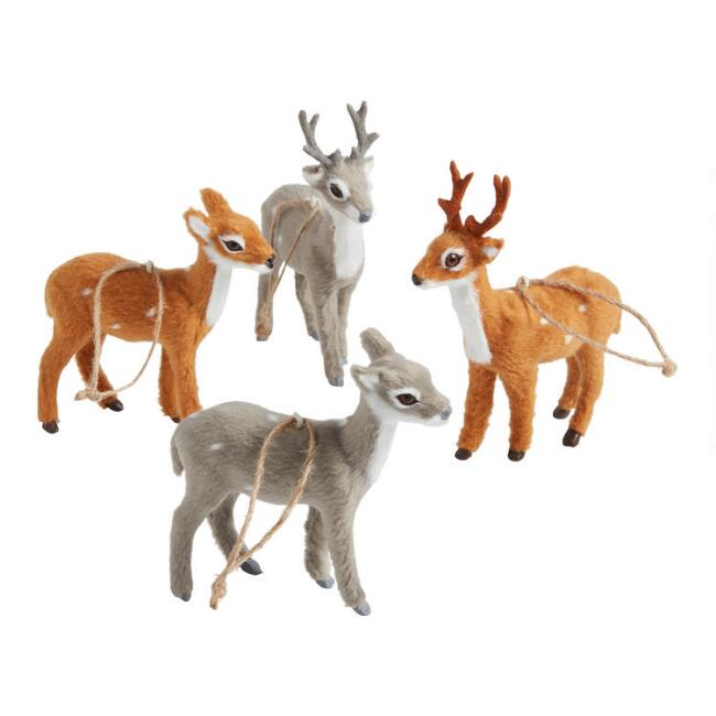 Faux Fur Spotted Deer Ornaments Set of 4