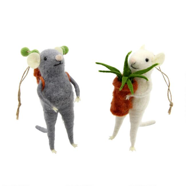 Felted Wool Mouse with Plant Ornaments Set of 2