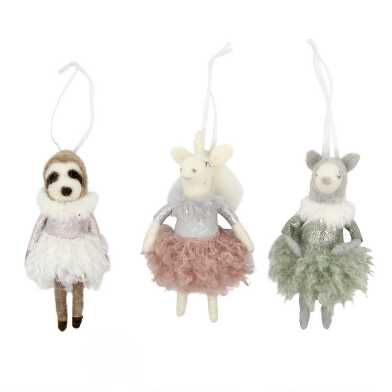 Felted Wool Fancy Animal Ornaments Set of 3