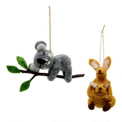 Felted Wool Koala and Kangaroo Ornaments Set of 2