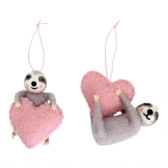 Felted Wool Sloth with Heart Ornaments Set of 2