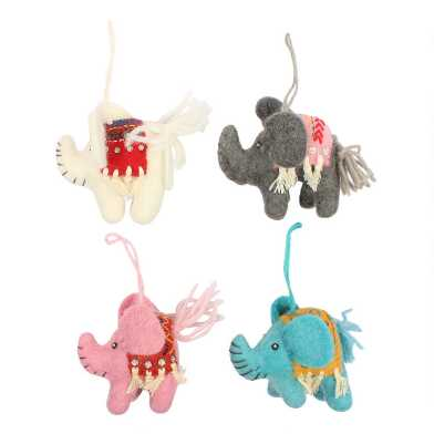 Felted Wool Indian Elephant Ornaments Set of 4