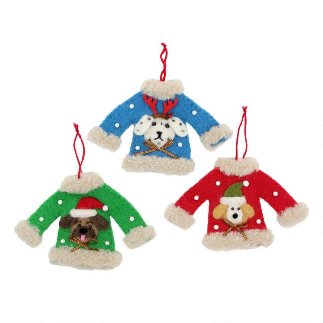 Felted Wool Dog Holiday Sweater Ornaments Set of 3