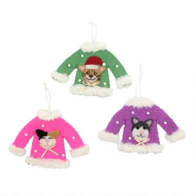 Felted Wool Cat Holiday Sweater Ornaments Set of 3