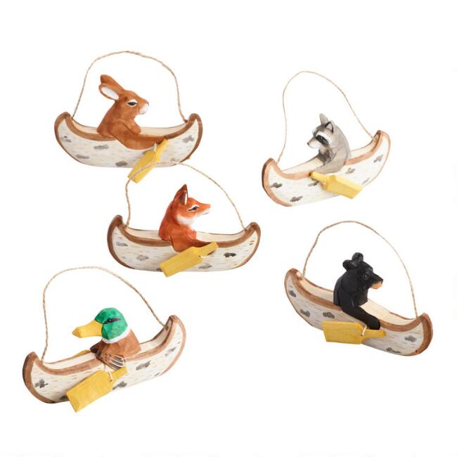 Carved Wood Animals in Canoes Ornaments Set of 5