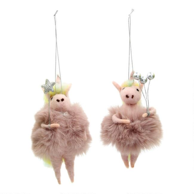 Pink Felted Wool and Faux Fur Unicorn Ornaments Set of 2