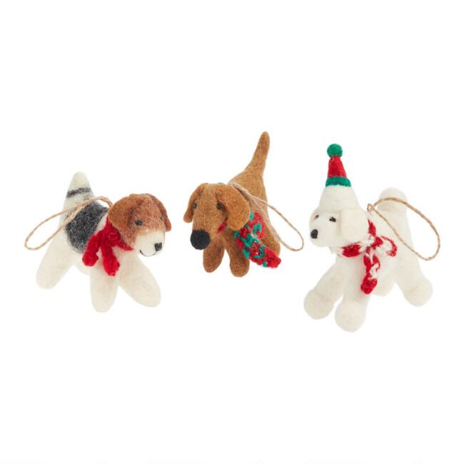 Felted Wool Dog with Scarf Ornaments Set of 3