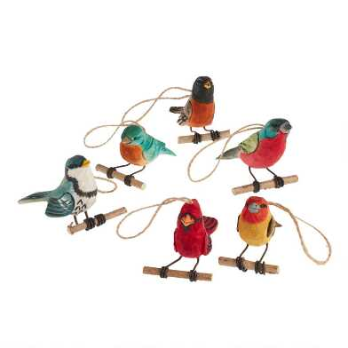 Carved Wood Songbird on Twig Perch Ornaments Set of 6