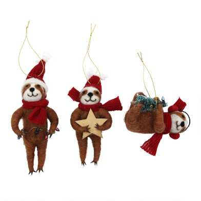 Felted Wool Holiday Sloth Ornaments Set of 3