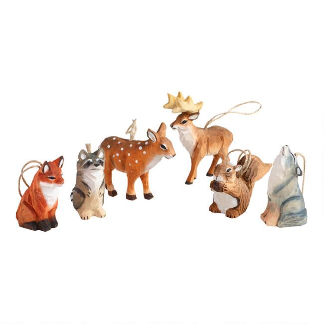 Carved Wood Forest Animal Ornaments Set of 6