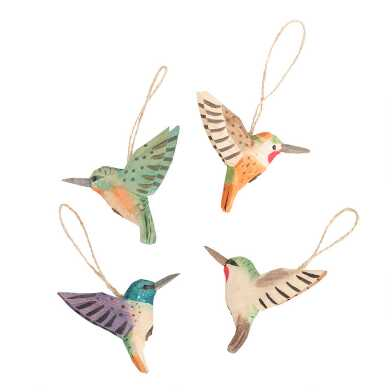 Multicolor Carved Wood Hummingbird Ornaments Set of 4