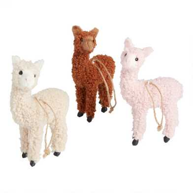 Fleece Llama Ornaments Set of 3