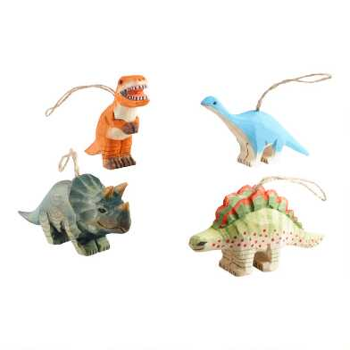 Multicolor Carved Wood Dinosaur Ornaments Set of 4