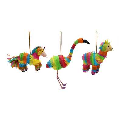 Paper Animal Pinata Ornaments Set of 3