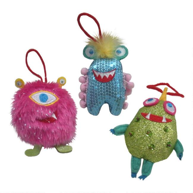 Fabric Funky Alien Ornaments Set of 3