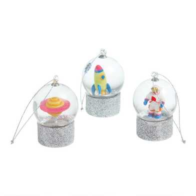 Glass Space Snow Globe Ornaments Set of 3